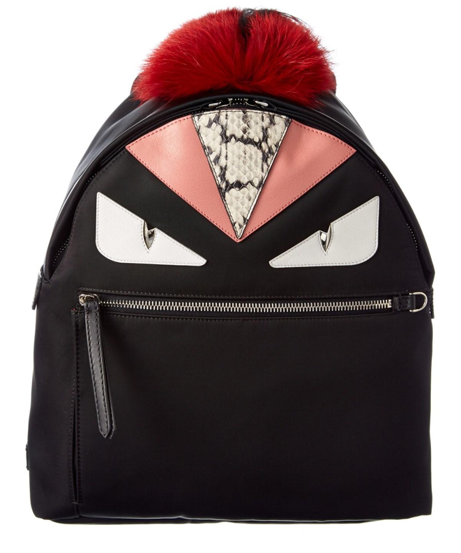 Monster Nylon, Leather & Mini Fur Backpack, Black
