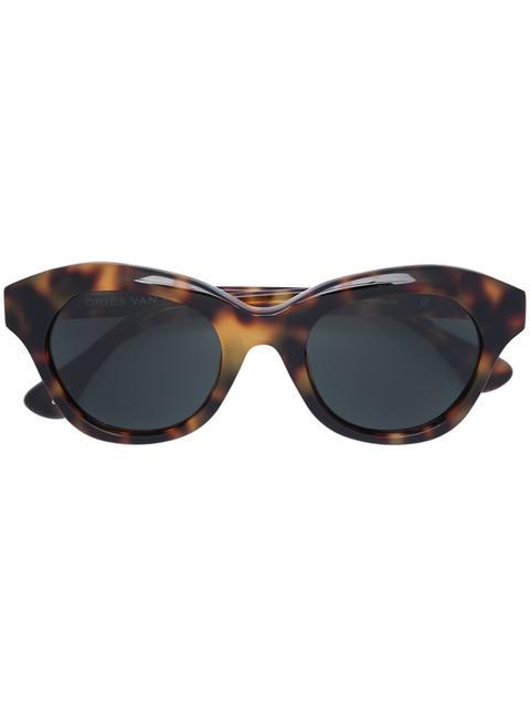 Dries Van Noten X Linda Farrow Blurred Leopard Print Sunglasses in Brown