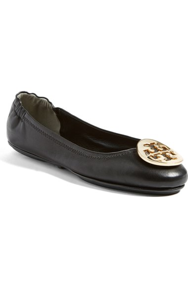 dd9993eaf4e7 Tory Burch  Minnie  Travel Ballet Flat (Women) In Black  Gold