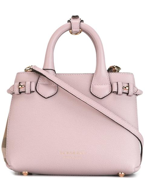 Burberry The Baby Banner In Leather And House Check - Pink