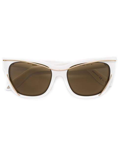 Wire Square Sunglasses, 55Mm, White/Gold/Brown Solid