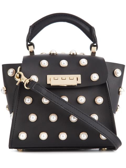 ZAC ZAC POSEN Eartha Iconic Lady Faux-Pearl Top Handle Mini Leather Crossbody in Black