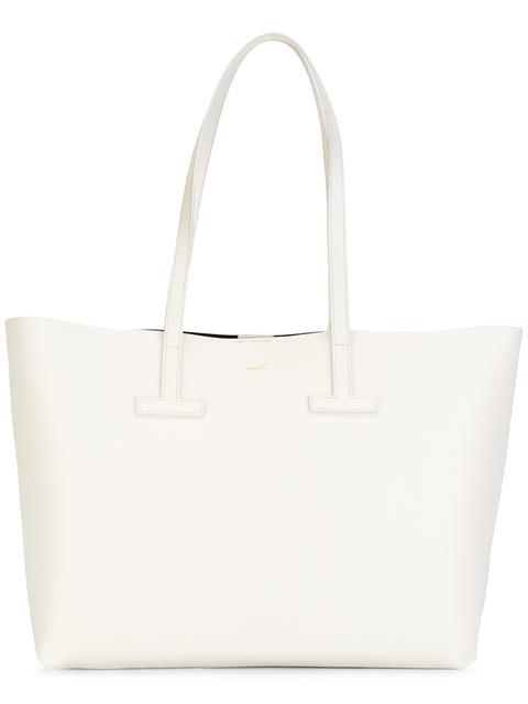 New Small T Tote Bag, White