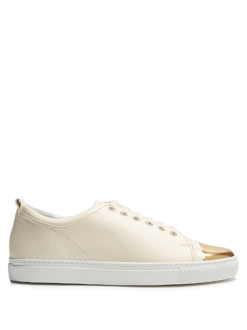 Capped-Toe Low-Top Leather Trainers, Ivory/ Gold