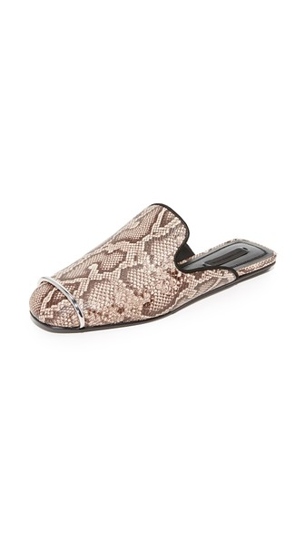 ALEXANDER WANG Jaelle Teak Snake-Embossed Leather Loafer Slides