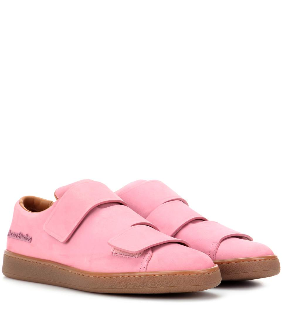 Triple Low-Top Brushed-Leather Trainers, Pink
