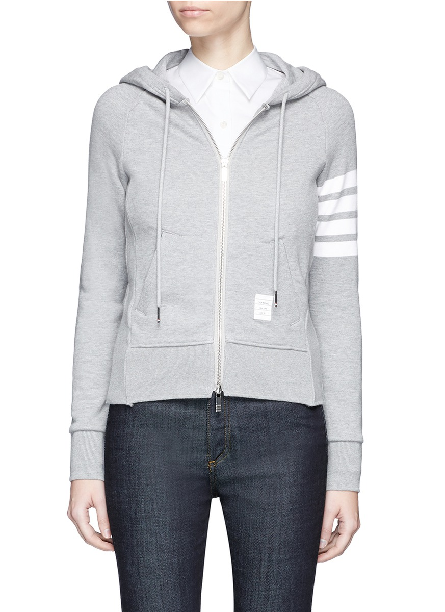 Womens Full Zip Hoodie With Engineered 4-Bar Stripe, Light Grey