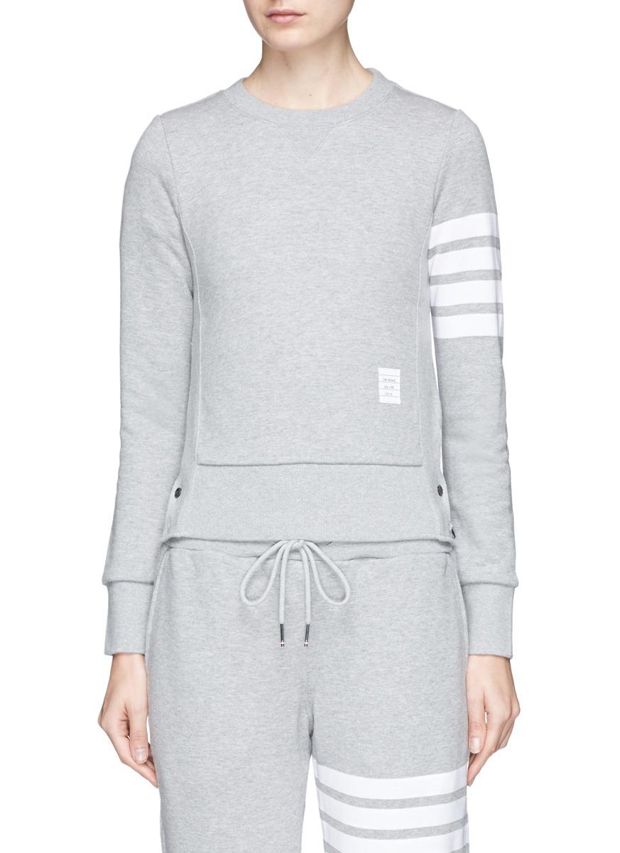 Intarsia Cotton Jersey Sweatshirt, Grey
