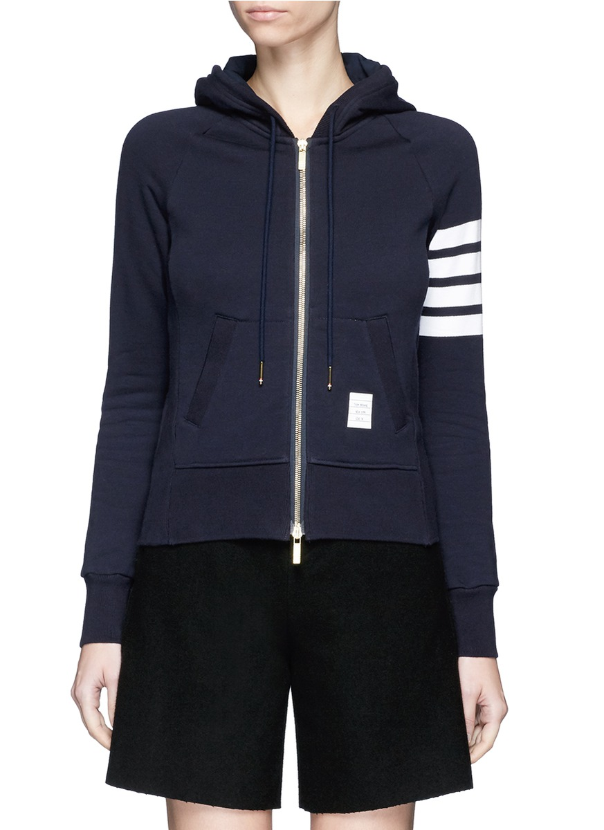 Womens Full Zip Hoodie With Engineered 4-Bar Stripe, Blue