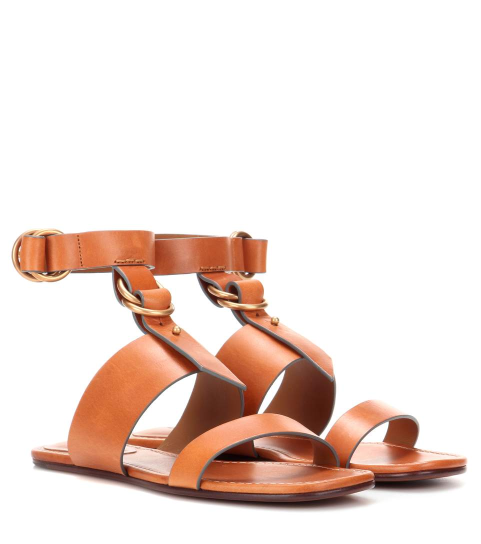 Chloé Leather T-Strap Sandals pay with visa sale online 6qiPNV