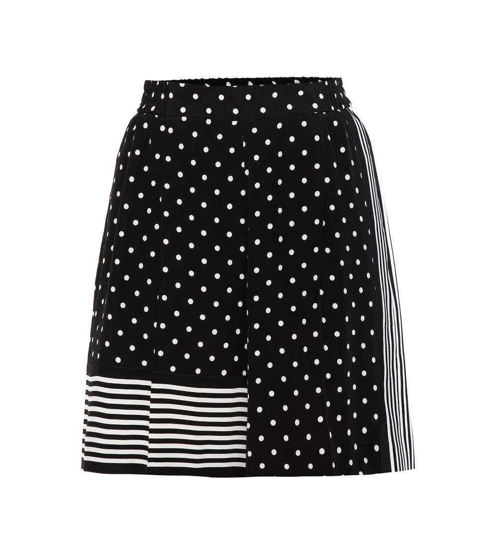 Zandra Printed Silk Crepe De Chine Shorts, Llack