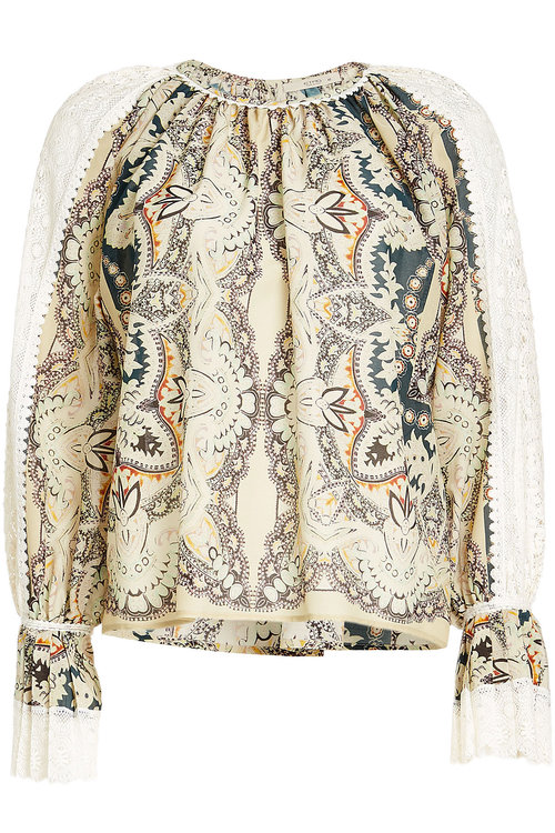 ETRO Printed Voluminous Blouse In Floral, Green. in Multicolored