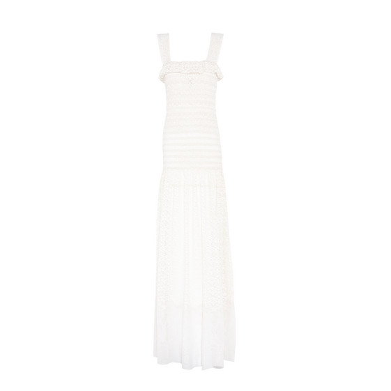 Sleeveless Smocked Lace Gown, Natural, Eatural