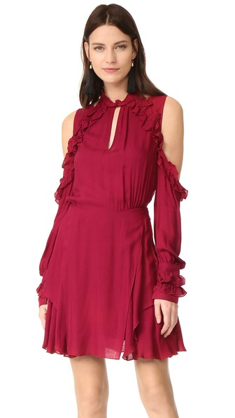 Woman Hanie Cold-Shoulder Ruffled Crepe Mini Dress Claret in Wine from IRO