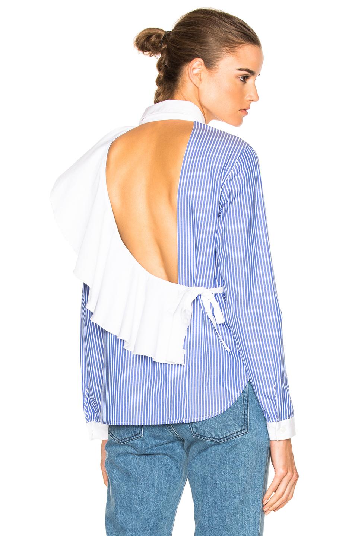 Enzo Open-Back Ruffled Striped Cotton-Poplin Shirt in Blue