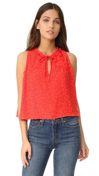 Ragnhild Sleeveless Textured Boxy Top, Red-Orange, White in Red/Orange from IRO