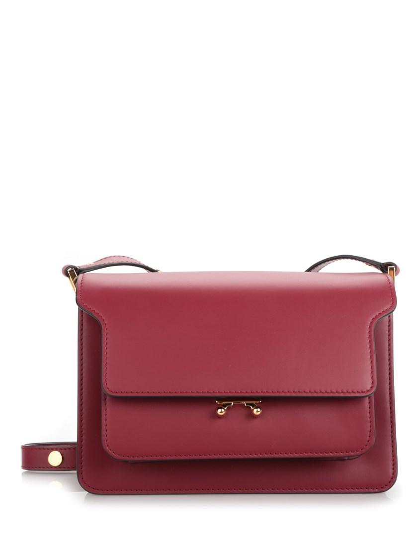 MARNI Trunk Medium Leather Shoulder Bag, Burgundy