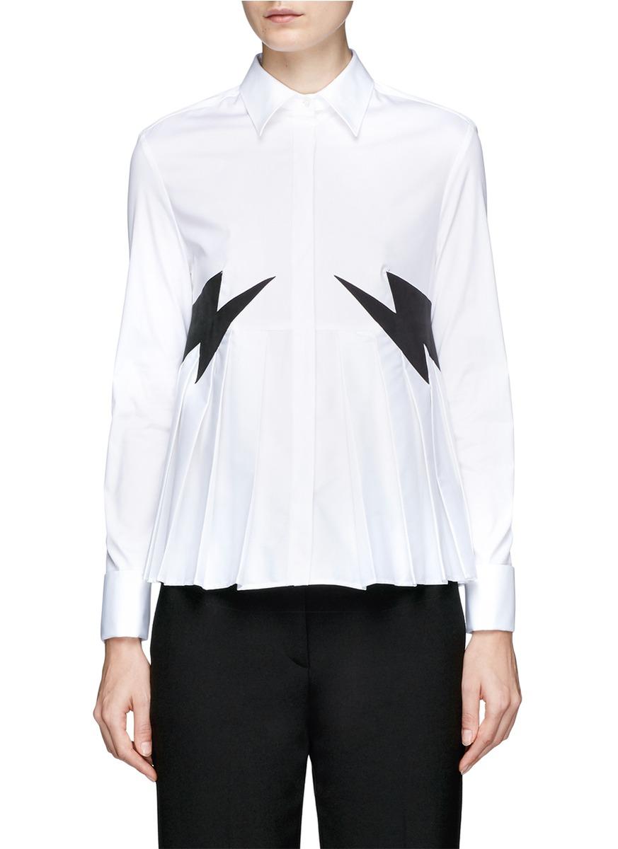 Pleated Shirt With Velvet Thunderbolts in White