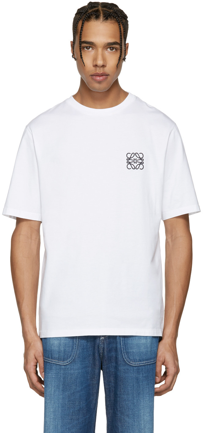 Anagram Embroidery Cotton Jersey T-Shirt in White