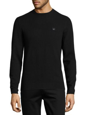 ACNE STUDIOS Nalon Face Embroidered Knit Sweater In Grey