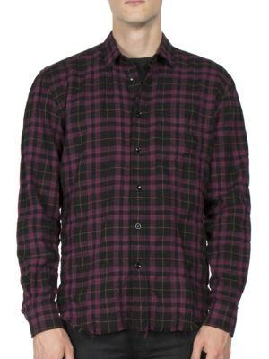 SAINT LAURENT Long-Sleeve Plaid Shirt in Black Multicolor