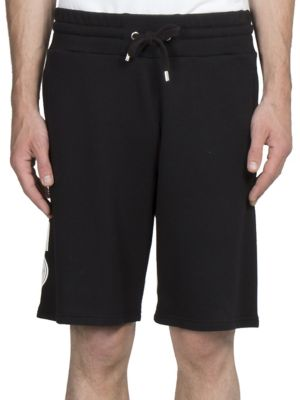 Logo Cotton Drawstring-Waist Shorts in Black