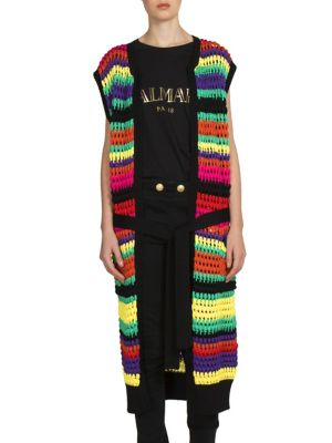 Woman Belted Striped Open-Knit Cardigan Multicolor in Multicolour