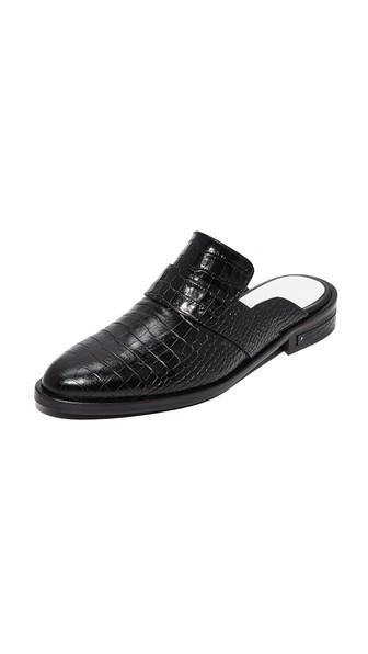 Women'S Keen Almond Toe Croc-Embossed Leather Mules in Black Croco