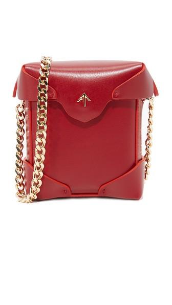 Micro Pristine Chain Box Bag, Red