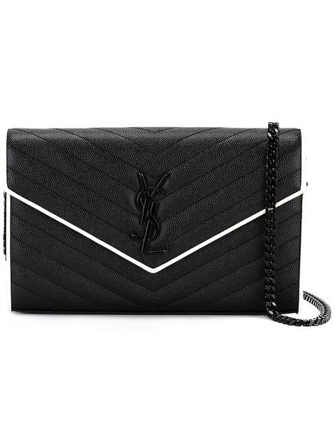 SAINT LAURENT MONOGRAM CHAIN WALLET IN BLACK AND DOVE WHITE GRAIN DE POUDRE  TEXTURED MATELASSÉ LEATHER afe7ec6cffaf5