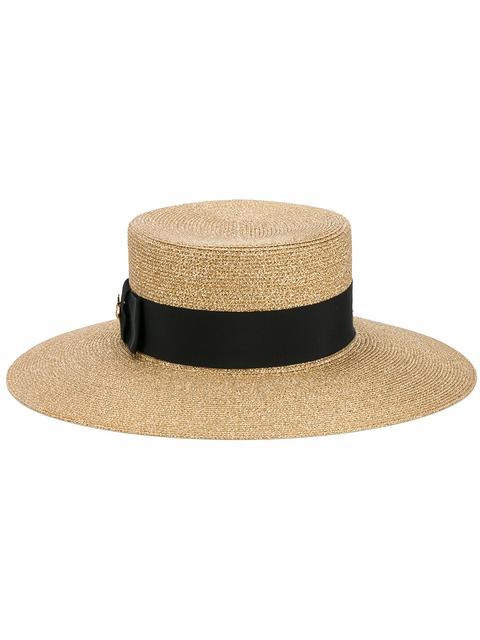 Grosgrain-Trimmed Glittered Straw Hat in Gold