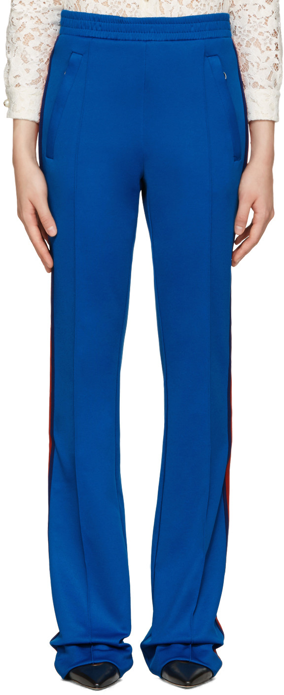 GUCCI Cotton Blend Jersey Sweatpants, Light Blue in Lightblue