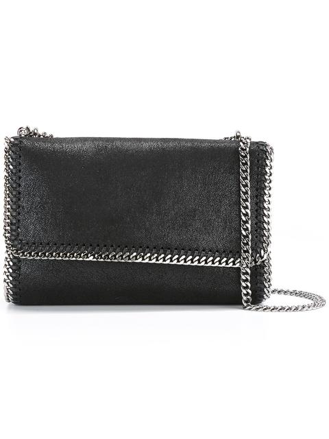 Falabella Faux-Suede Sliding Shoulder Bag in Black