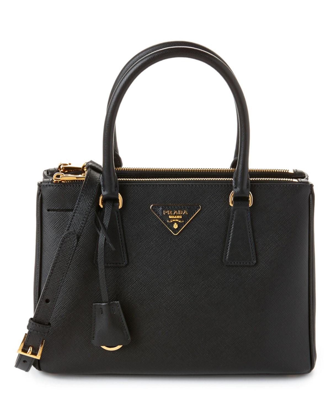 Galleria Saffiano Small Leather Shoulder Bag in Black