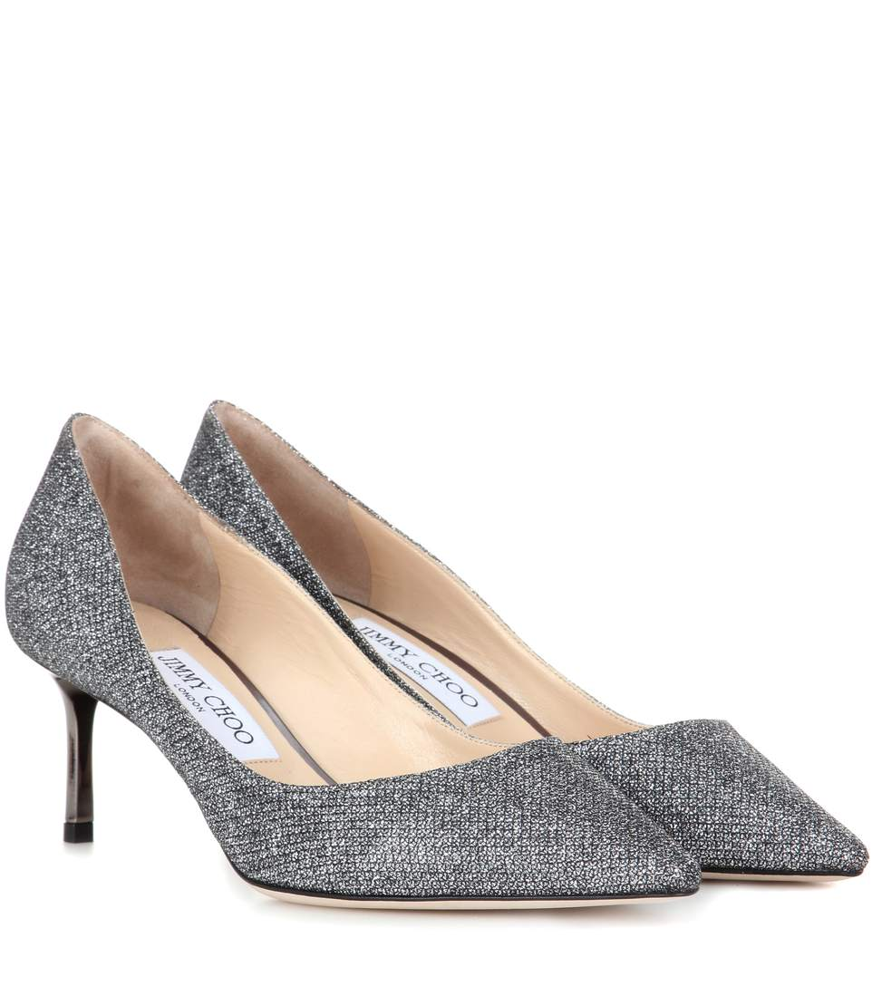 Romy 60 Glittered Leather Pumps in Metallic