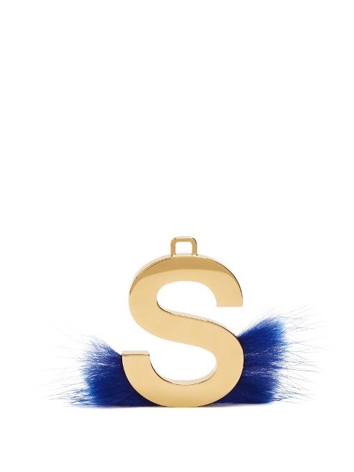 fendi abclick letter s mink charm for handbag multi gold modesens