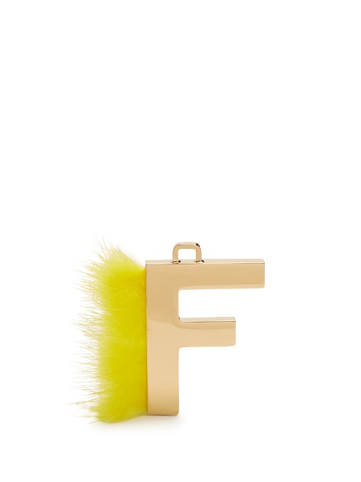Fendi abclick letter k mink charm for handbag multi gold modesens and mink country of origin italy gold tone metal k pendant forest green mink fur trim logo engraved back two detachable gold tone metal key rings aloadofball Gallery