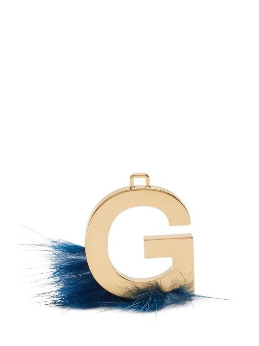 fendi abclick letter g mink charm for handbag multi gold and