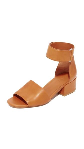 VINCE Rosalia Leather Grip-Tape Block-Heel Sandals, Saddle Tan