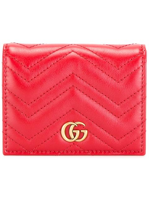 Gg Marmont Quilted-Leather Wallet, Hibiscus Red Leather