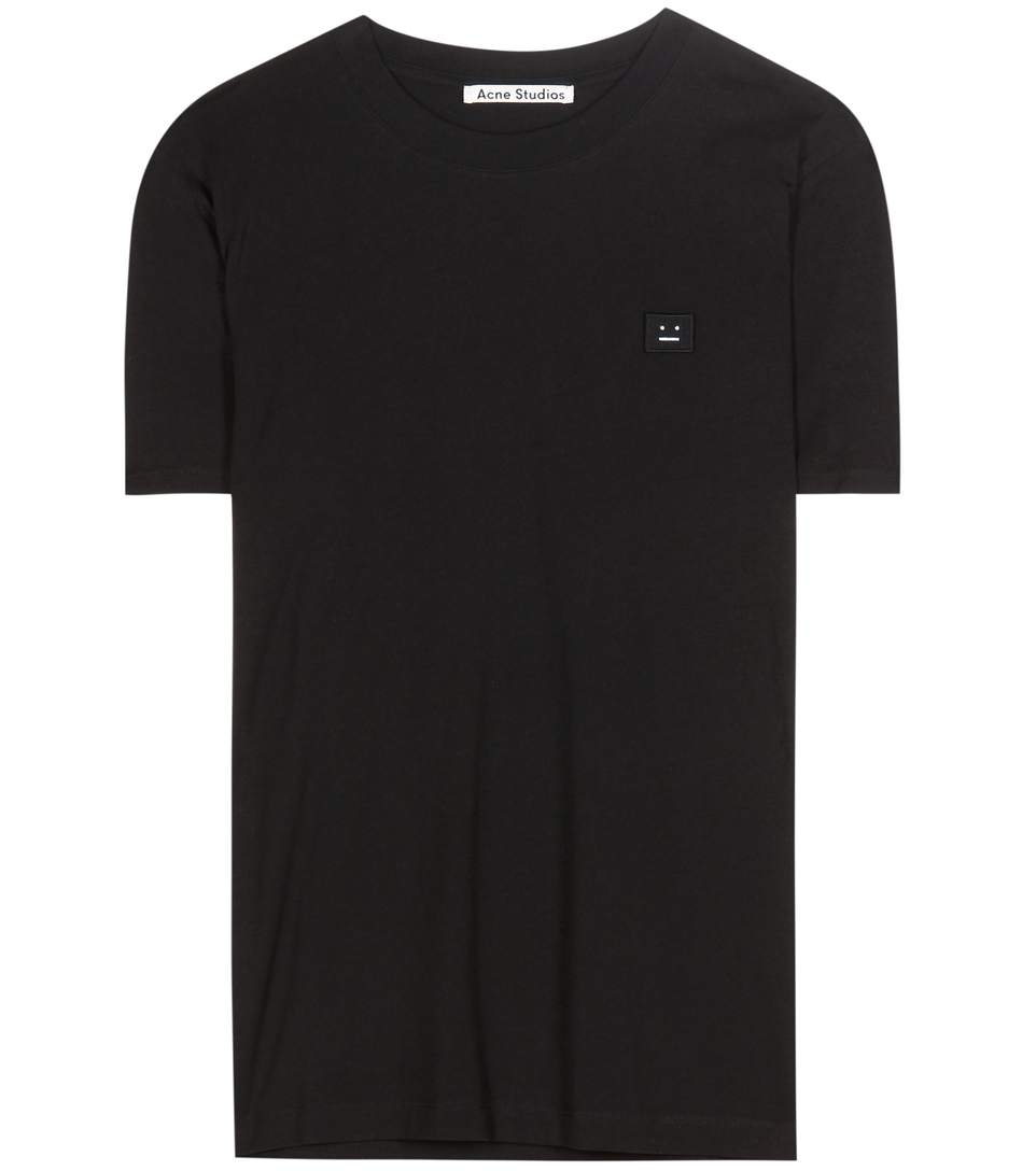 'Taline' Face Patch Cotton T-Shirt in Llack