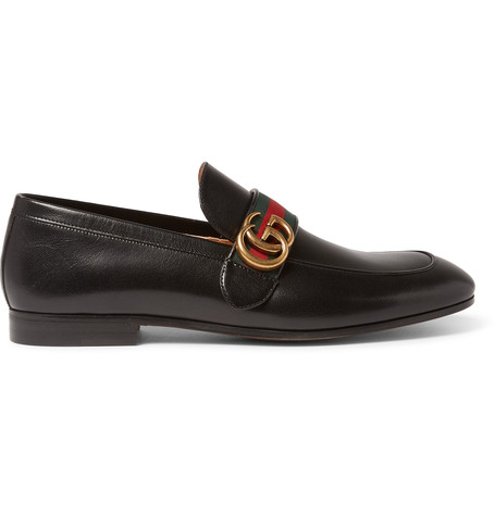 Donnie Gg Web-Stripe Leather Loafers in Green