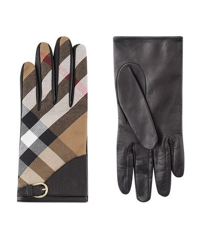 e43f0a98a62 BURBERRY Tech Leather Gloves With Check Trim