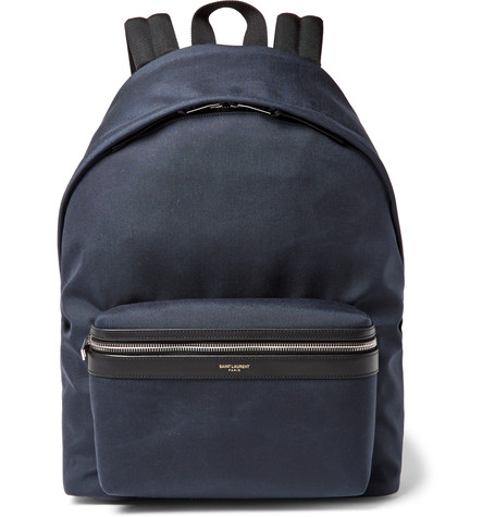 SAINT LAURENT Canvas And Leather Trim Backpack - Blue, Navy