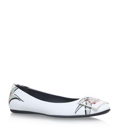 ROGER VIVIER Gommette Love Tattoo Patent Leather Ballet Flats, White-Multi