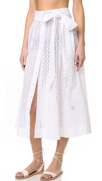 LISA MARIE FERNANDEZ Broderie Anglaise Cotton Midi Skirt in White Eyelet