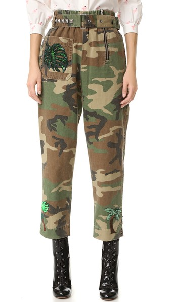 Woman Embellished Camouflage-Print Cotton-Twill Tapered Pants Green