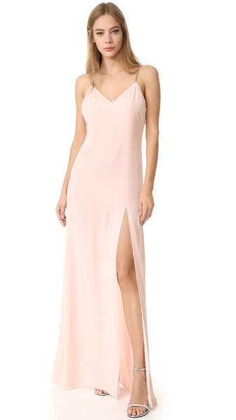 BAJA EAST Velvet Dress In Neutrals, Pink. in Light Pink