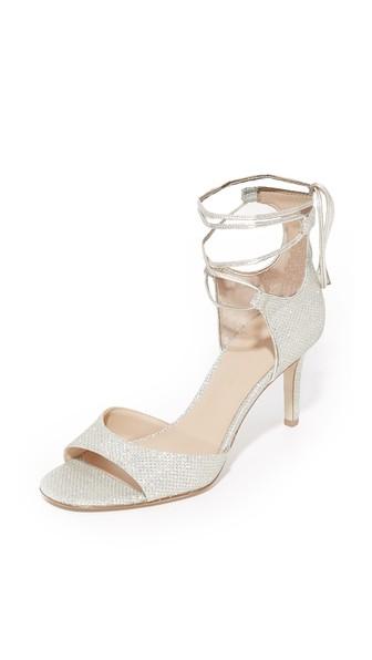 DIANE VON FURSTENBERG Rimini 2 Diamond-Textured Sandals, Champagne