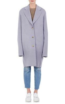 Landi Brushed Wool-Cashmere Melton Coat, Grey Melaege
